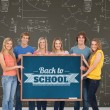Group of people holding blackboard — Stock Photo #51562589