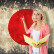 Student pointing against japan flag — Stock Photo #51562649