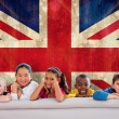 Постер, плакат: Cute pupils against union jack flag