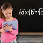 Girl using tablet against blackboard — Stock Photo #51562885