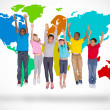 Elementary pupils jumping with world map — Stock Photo #51563551