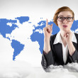 Businesswoman against blue world map — Stock Photo #51563885
