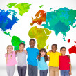 Elementary pupils with world map — Stock Photo #51564689