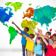 Elementary pupils with world map — Stock Photo #51564967