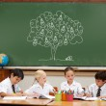Idea tree against cute pupils — Stock Photo #51565191