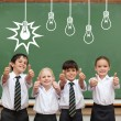 Idea and innovation graphic against pupils — Stock Photo #51566245