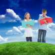 Brother and sister doing their homework — Stock Photo #51567033