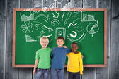 Kids against blackboard with copy space — Stockfoto