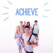 Word achieve against smiling students — Stock Photo