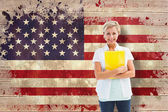 Mature student smiling against usa flag — Stock Photo