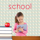 School against red apple on pile of books — Stock Photo