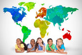 Cute kids thinking with world map — Stock Photo