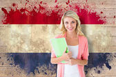 Student smiling against netherlands flag — Stock Photo