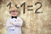 Cute pupil dressed up as teacher — Stockfoto