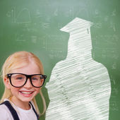Cute pupil with graduate outline — Stock Photo