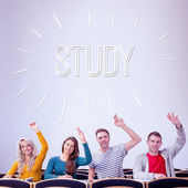 Word study against college students — Stock Photo