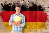 Student against germany flag — Stock Photo