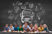 Pupils with teacher with school doodles — Stock Photo