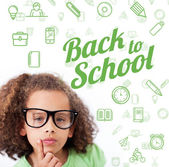 Back to school message with icons — Stock Photo