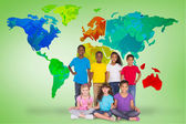 Elementary pupils with world map — Stock Photo