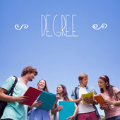 Word degree against students — Stock Photo