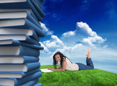 Woman lying with magazine — Stock Photo