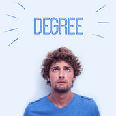 Degree against anxious student — Stock Photo