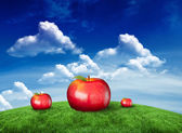 Composite image of red apples — Stock Photo