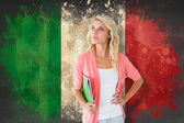 Student smiling against italy flag — Stock Photo