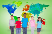 Elementary pupils smiling with world map — Stock Photo