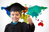Cute pupil in graduation robe — Stock Photo
