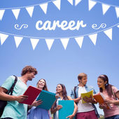 Word career and bunting against students — Stock Photo
