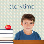Storytime against red apple on pile of books — Stock Photo