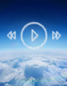 Cloud in shape of music player menu — Stock Photo