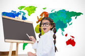 Pupil with chalkboard with world map — Stock Photo