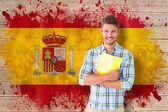 молодой студент против флаг испании — Стоковое фото