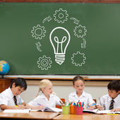 Idea and innovation graphic against pupils — Стоковое фото