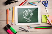 Digital tablet on students desk — Stockfoto
