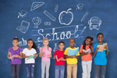 Pupils with back to school message — Foto de Stock