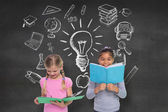 Pupils reading with school doodles — Stock Photo