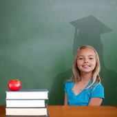 Composite image of cute pupil with graduate shadow — Stock Photo