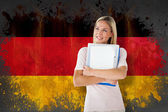 Mature student against germany flag — Stock Photo