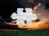 Composite image of cloud jigsaw piece — Stok fotoğraf