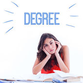 Word degree against stressed student — Stok fotoğraf