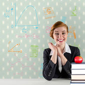 Excited redhead teacher — Stock Photo