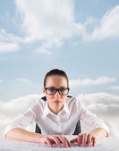 Businesswoman typing on a keyboard — Stock Photo