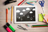 Digital tablet on students desk — Foto Stock