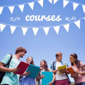 Word courses and bunting against students — Stock Photo