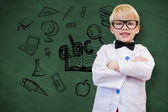 Cute pupil dressed up as teacher — Stock Photo