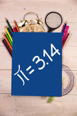 Composite image of pie equation — Stock Photo
